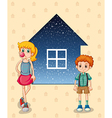 Two siblings in front of the house vector image vector image