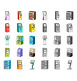variety of terminals cartoonmono icons in set vector image vector image