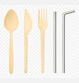 wood fork spoon knife and steel straws top view vector image