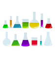 laboratory glassware set with colored liquids vector image