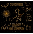 Linear trendy happy halloween silhouettes witch vector image