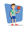 Flat basketball player with ball in the hand vector image