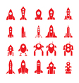 20 rockets silhouettes vector image