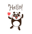 a happy panda greets you hello vector image vector image