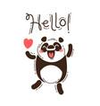 a happy panda greets you hello vector image