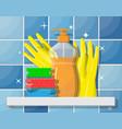bottle detergent sponge and rubber gloves vector image
