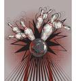 Bowling Ball Crashing into Pins Design vector image