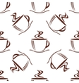 Brown steaming cups seamless pattern vector image