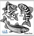 brown trout and perch - fishing on usa isolated vector image vector image