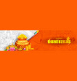 burning diya on happy diwali dhanteras holiday vector image vector image