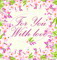Card with pink flowers vector image