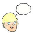 cartoon man with big chin with thought bubble vector image vector image