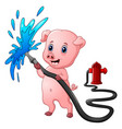 cartoon pig with hose spraying water and fire hydr vector image vector image