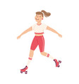 cheerful woman character dancing on roller skates vector image vector image