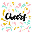 cheers handwritten postcard vector image