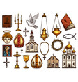 christianity religion orthodox catholic symbols vector image