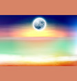 colorful beach with full moon at night vector image