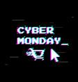 cyber monday sale design retro game style glitch vector image vector image