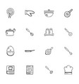 doodle kitchen accessories icons set vector image vector image