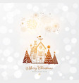 firework in sky small snow covered house vector image