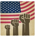 fist independence symbol American flag old vector image vector image