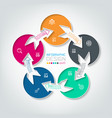 five connecting circle infographics vector image