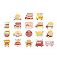 food truck cafe street promo signs collection of vector image vector image