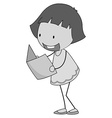 Girl reading in black and white vector image vector image