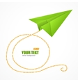 Green paper plane on blue sky and text box vector image vector image