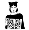 hand drawn surreal ofgirl with ribs isolated vector image vector image