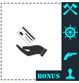 hands and credit card icon flat vector image vector image