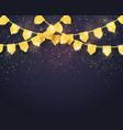 happy birthday - glitter gold party flags vector image