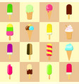 ice cream species a set of 16 ice-cream in flat vector image vector image