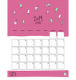 june 2019 wall calendar doodle style vector image vector image