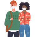 man and african woman are wearing medical masks vector image vector image