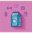 milk box with healthy lifestyle icons vector image vector image