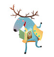 moose reading a book vector image vector image
