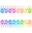 People colorful hands united with love to together vector image vector image
