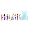 people standing in queue line in front of shop vector image vector image