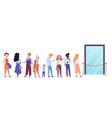people standing in queue line in front of shop vector image
