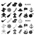 pirate sea robber black icons in set collection vector image vector image
