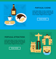 portugal architecture and cuisine banner templates vector image vector image