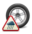 Rain Tire with Sign vector image vector image