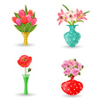 romantic collection of modern vases with flowers vector image vector image