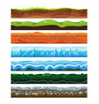 Seamless land horizontal layers set geology and