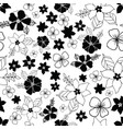 seamless repeat floral pattern in black and white vector image