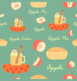 seamless with apple cider apples and apple pie vector image