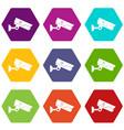 security camera icon set color hexahedron vector image vector image
