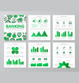set colored bank and money elements vector image