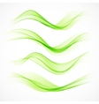 Set of green wave vector image vector image